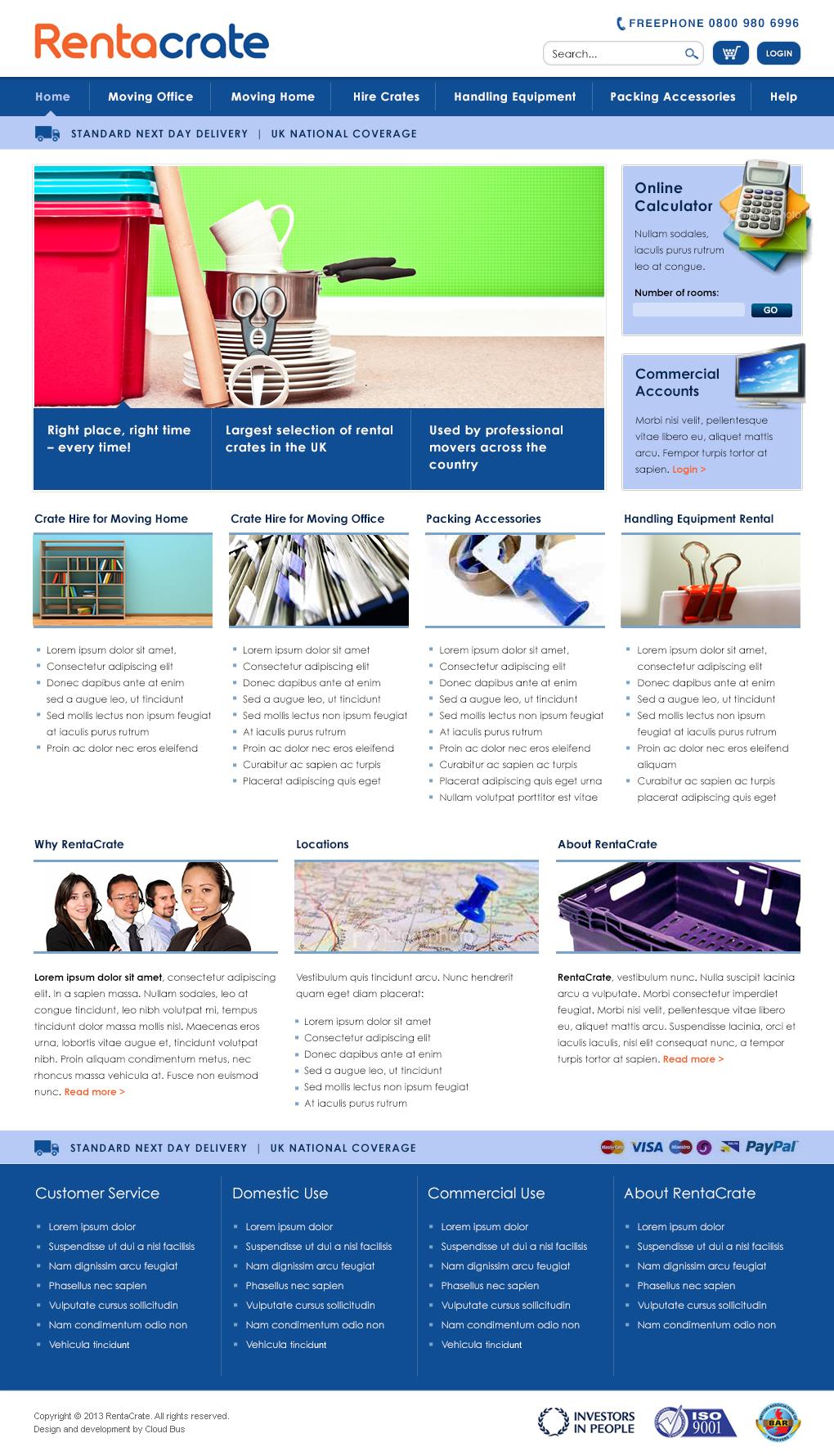 Rentacrate homepage